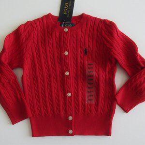 Ralph Lauren Red Mini Cable Cardigan Sweater 2t